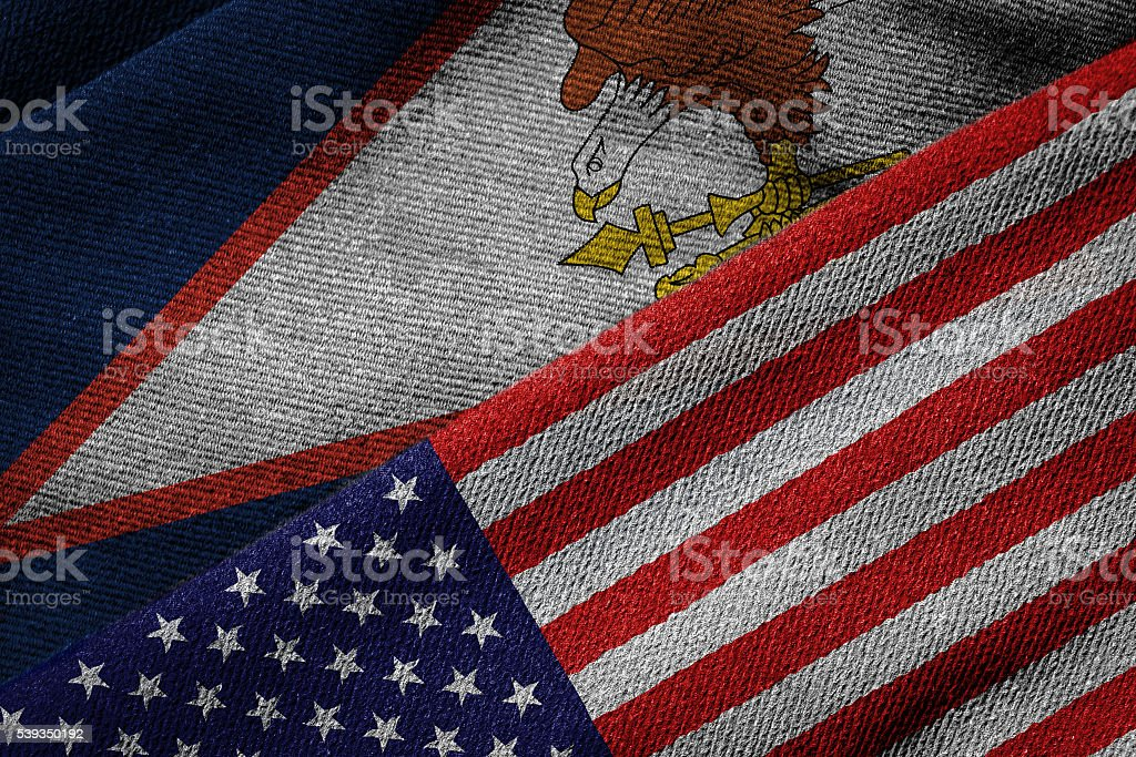 Flags of USA and American Samoa on Grunge Texture stock photo