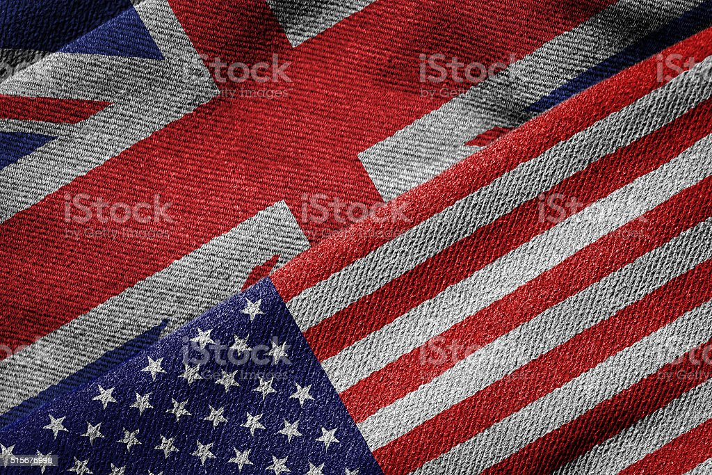 Flags of USA and Britain on Grunge Texture stock photo