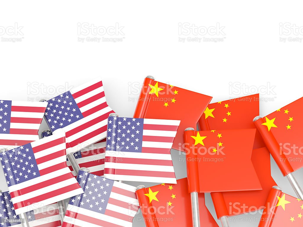 Flags of USA and China  isolated on white stock photo