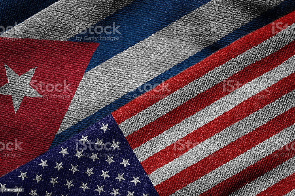 Flags of USA and Cuba on Grunge Texture stock photo