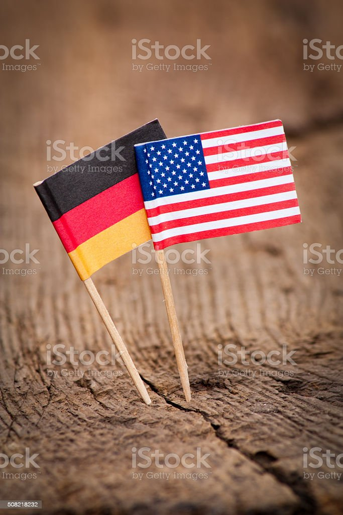 Flags of USA and Germany stock photo