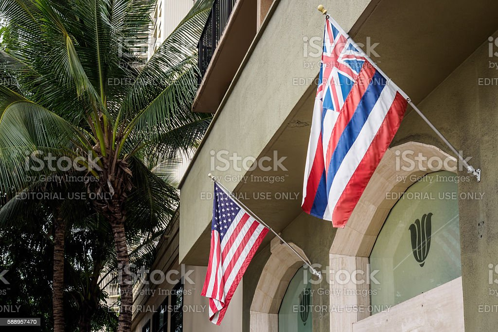 Flags of USA and Hawaii stock photo