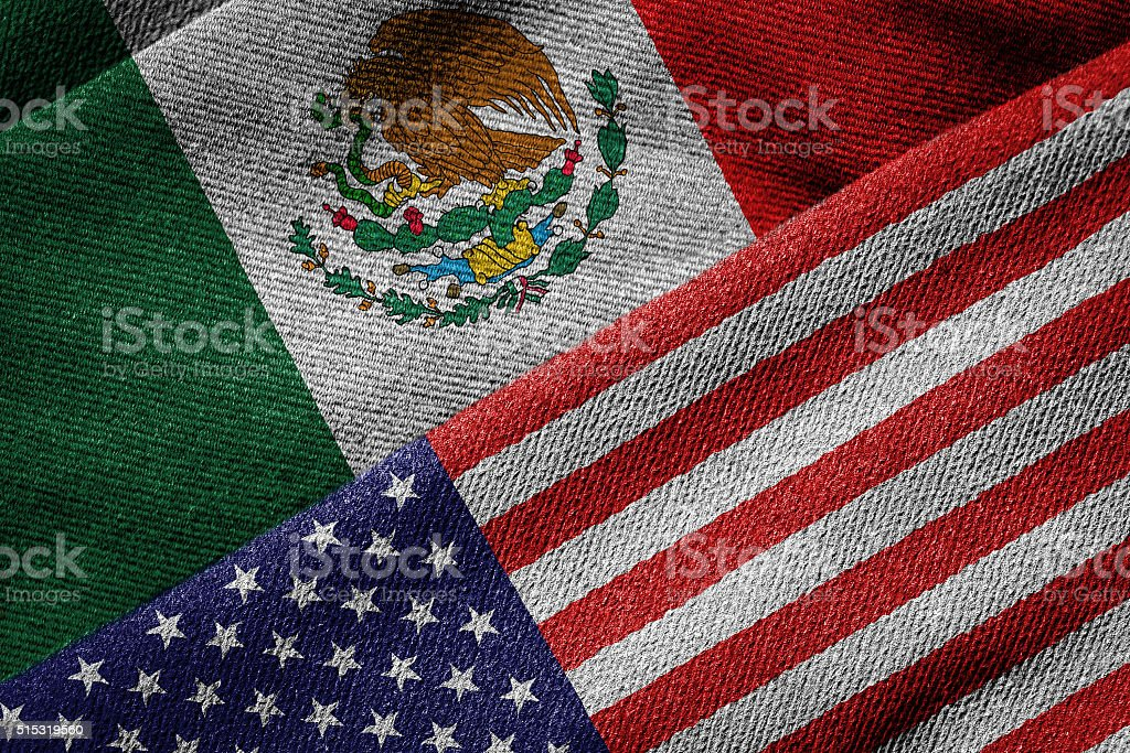 Flags of USA and Mexico on Grunge Texture stock photo