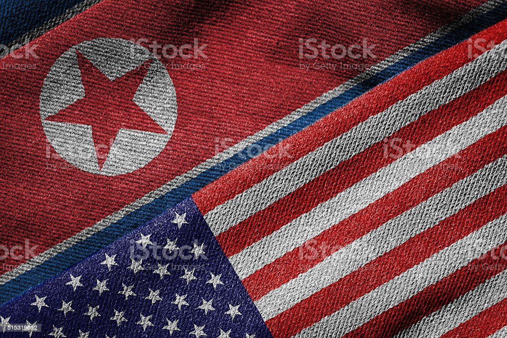 Flags of USA and North Korea on Grunge Texture stock photo