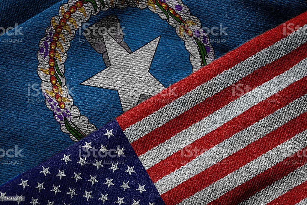 Flags of USA and Northern Mariana Islands on Grunge Texture stock photo