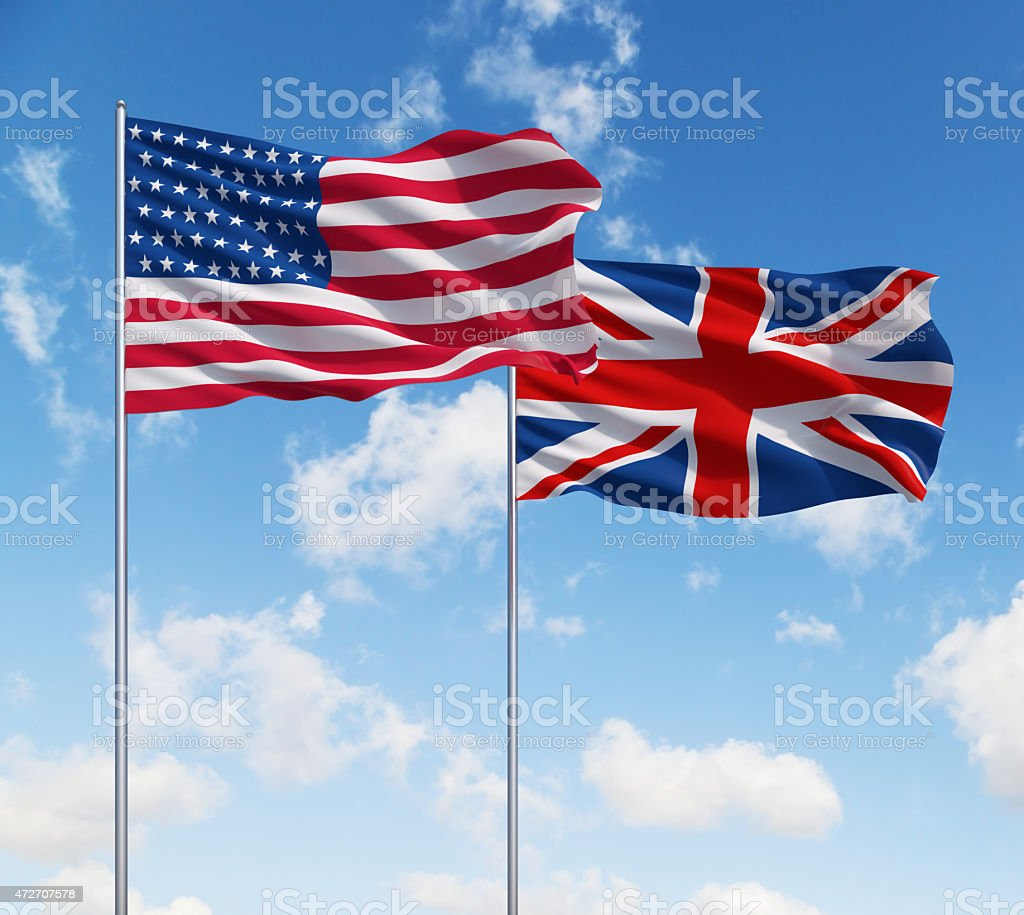 flags of usa and United Kingdom stock photo