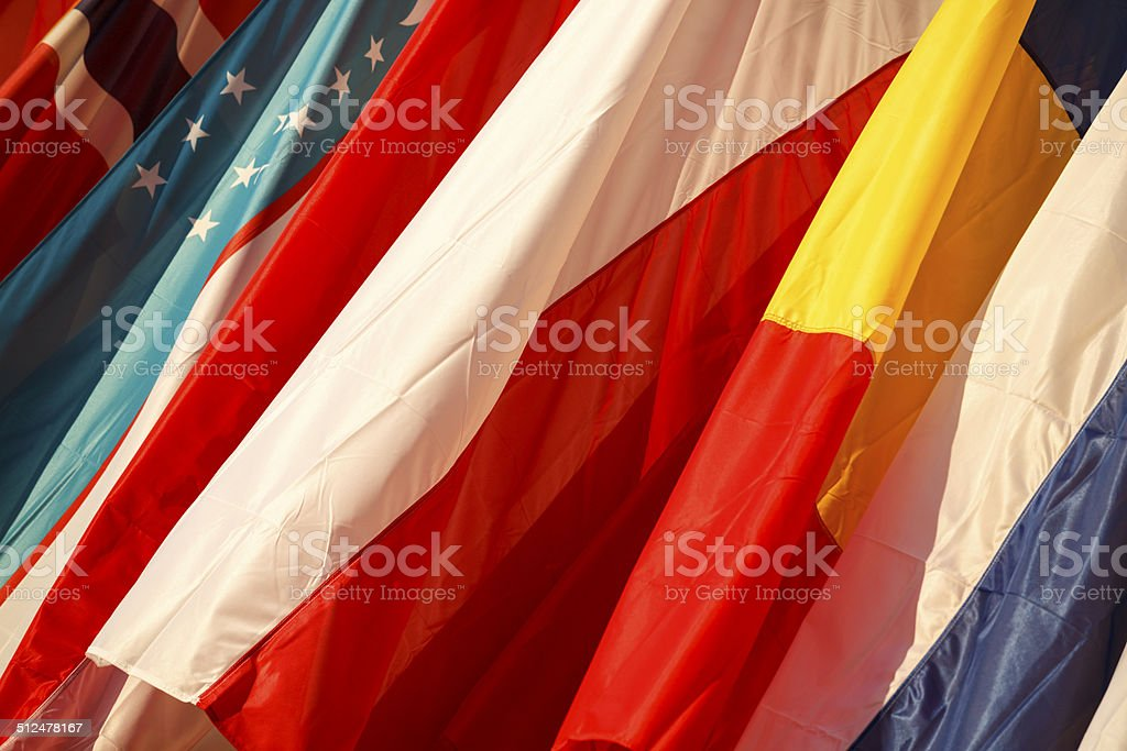 Flags of Uzbekistan, Romania, Poland, Norway and Finland stock photo