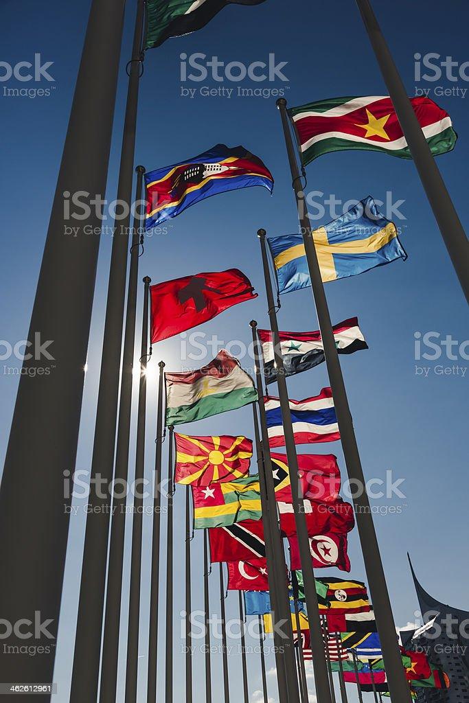 Flags of Vienna International Centre stock photo