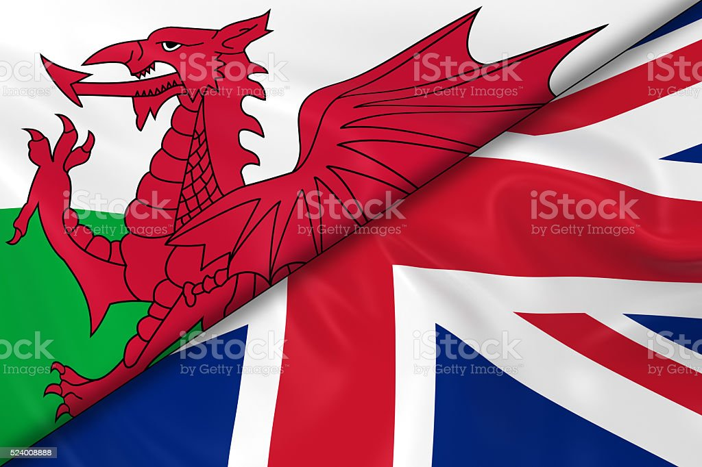 Flags of Wales and the UK Divided Diagonally stock photo