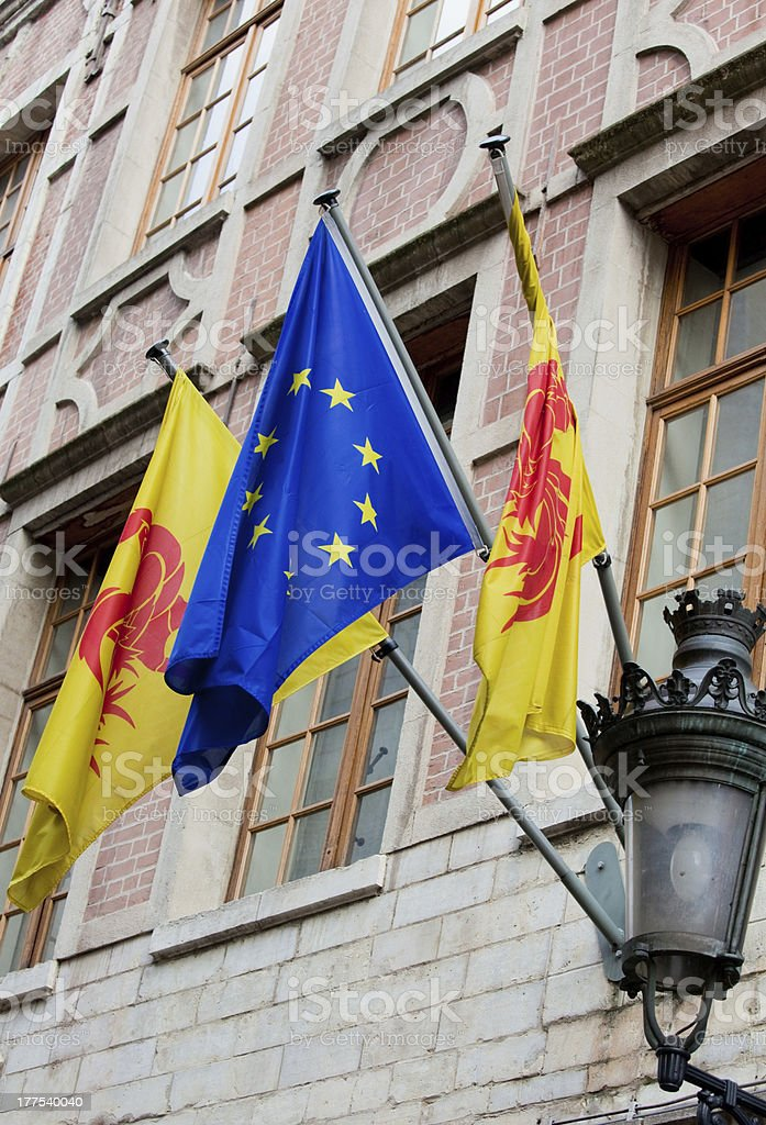 Flags of Wallonia and Europe royalty-free stock photo
