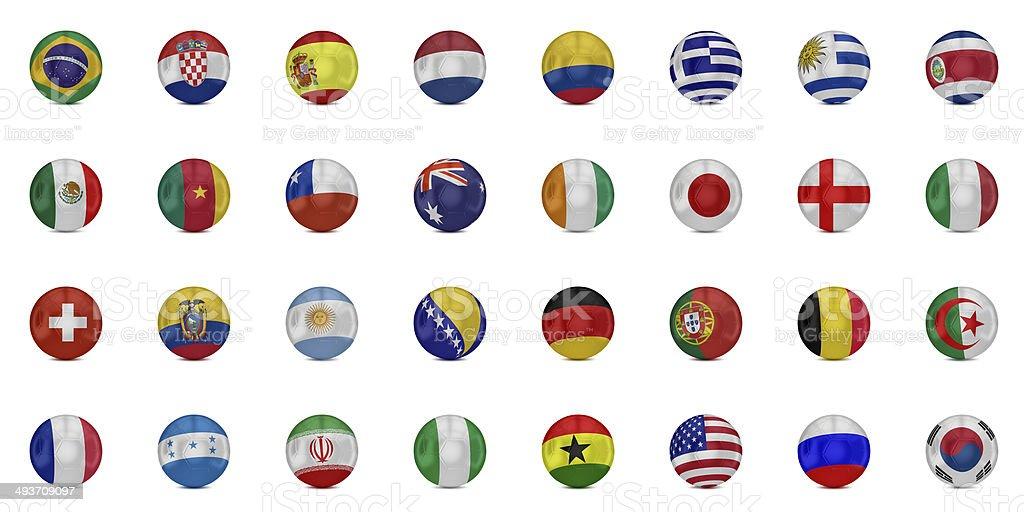 Flags of world on soccer balls stock photo