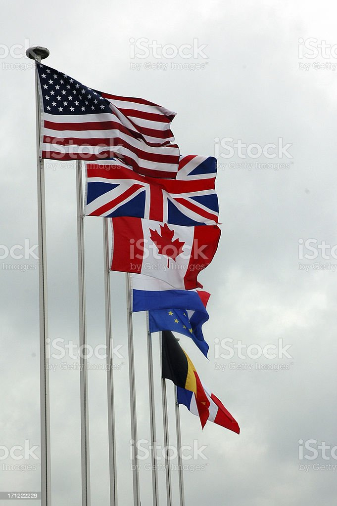Flags Of World Powers royalty-free stock photo
