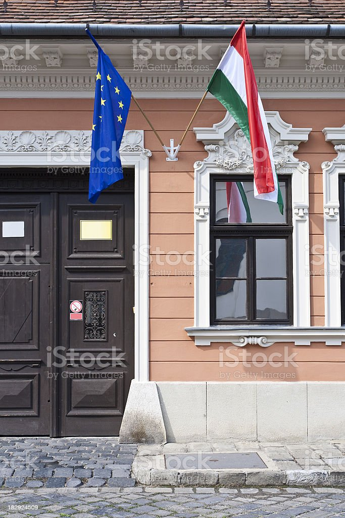 Flags on a building royalty-free stock photo