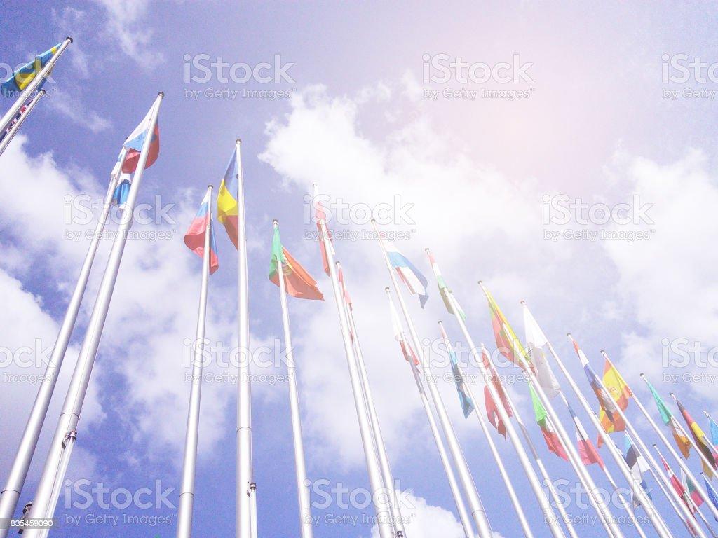 EU flags on Europe parlament summit. International politic event. stock photo