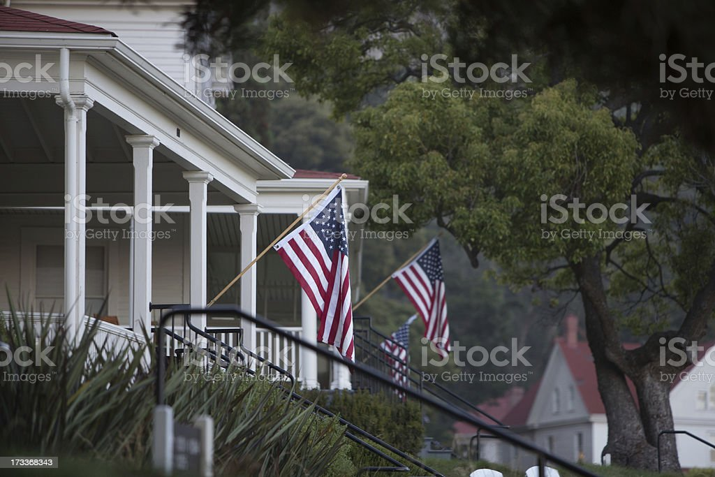 Flags on Fort Baker Porches royalty-free stock photo
