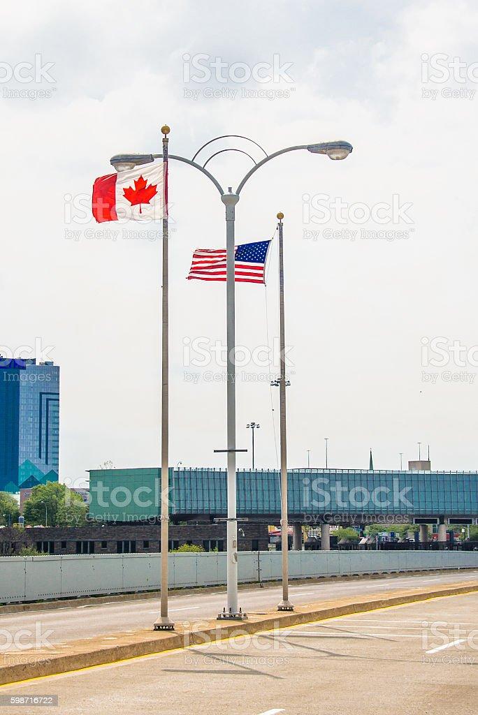 Flags on Rainbow Bridge stock photo