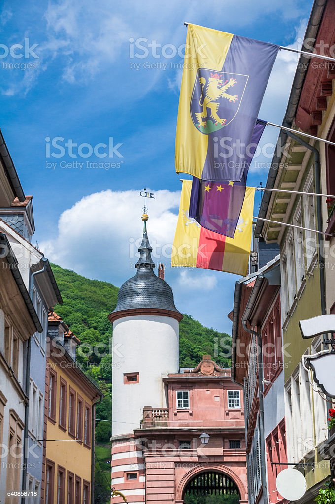 Flags on Steingasse stock photo