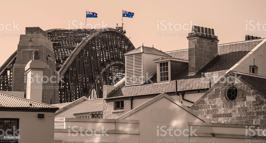 Flags on Sydney Harbour Bridge stock photo