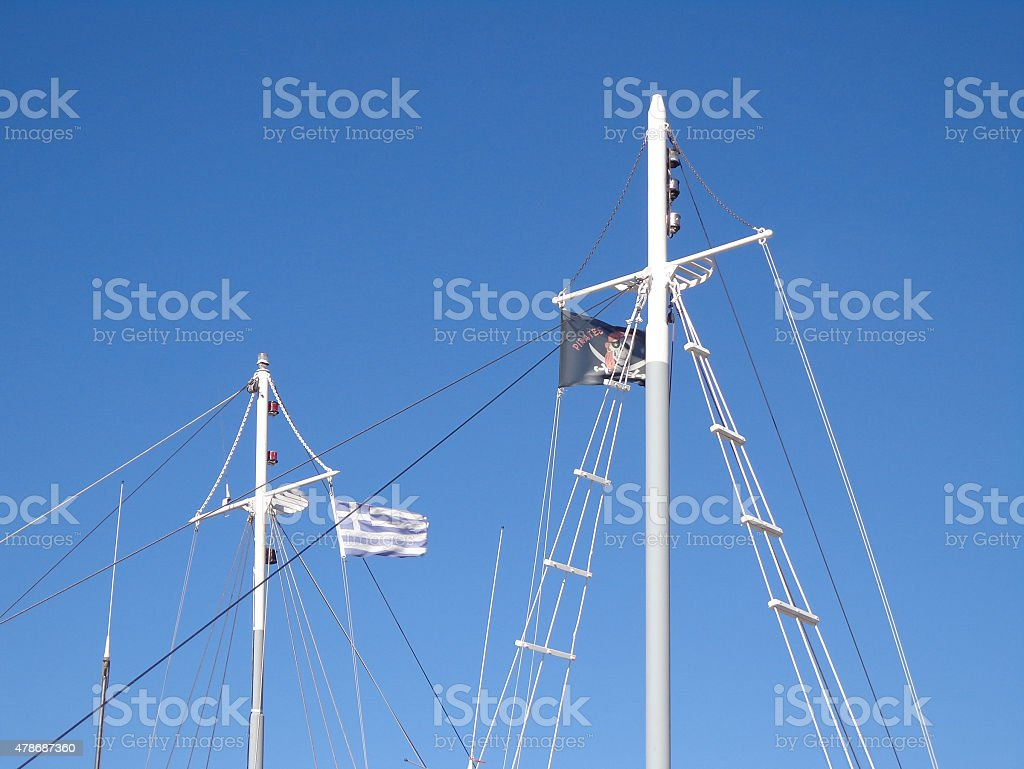Flags on the masts stock photo