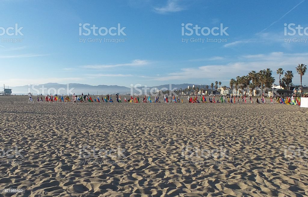 Flags on the Sand of Venice Beach stock photo