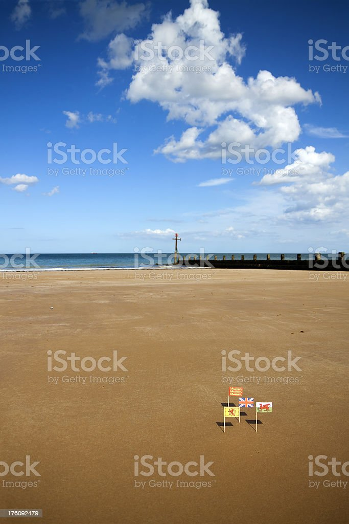 Flags on the sands royalty-free stock photo