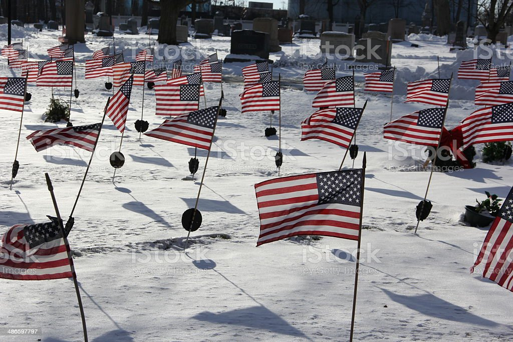 Flags on veterans graves royalty-free stock photo