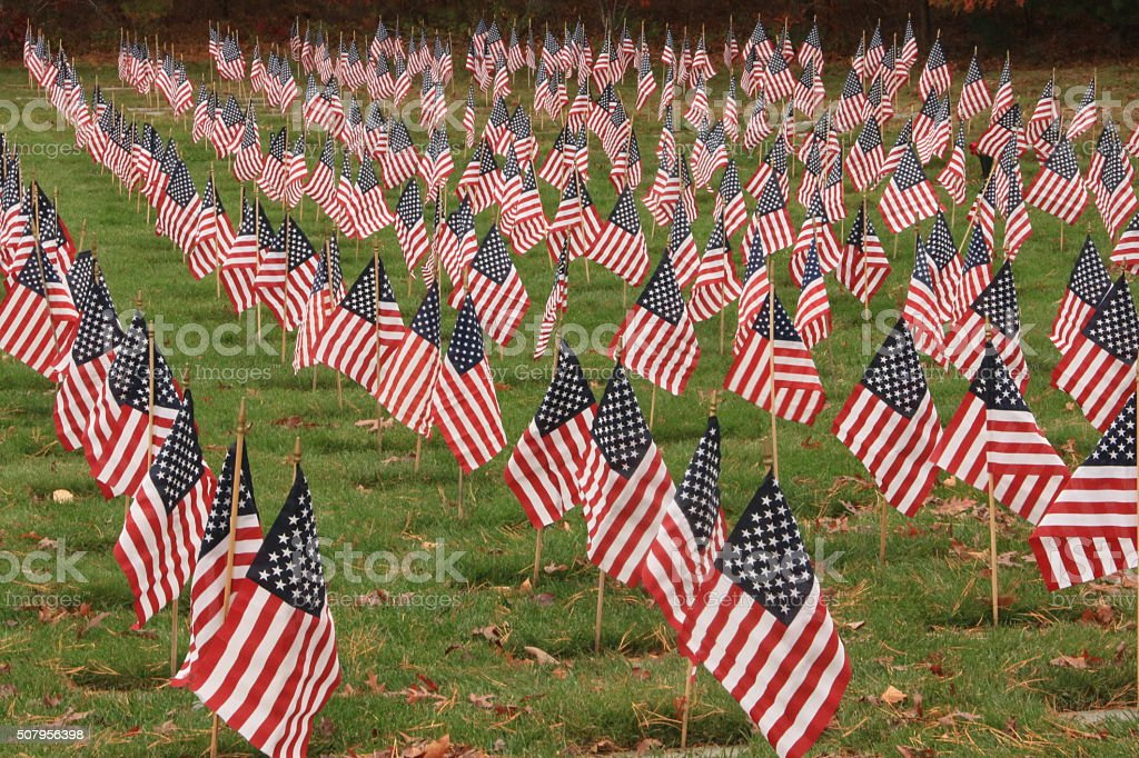 US Flags on Veterans Graves stock photo