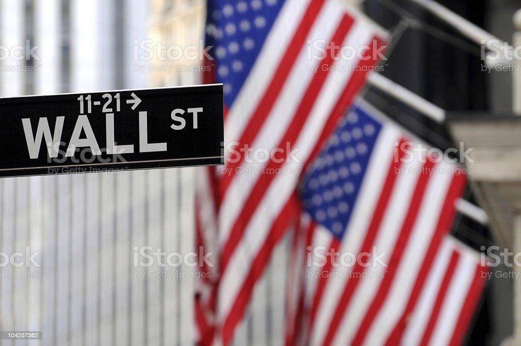 U.S. flags on Wall Street royalty-free stock photo