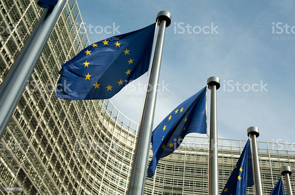 EU flags outside the European Commission Brussels Belgium stock photo