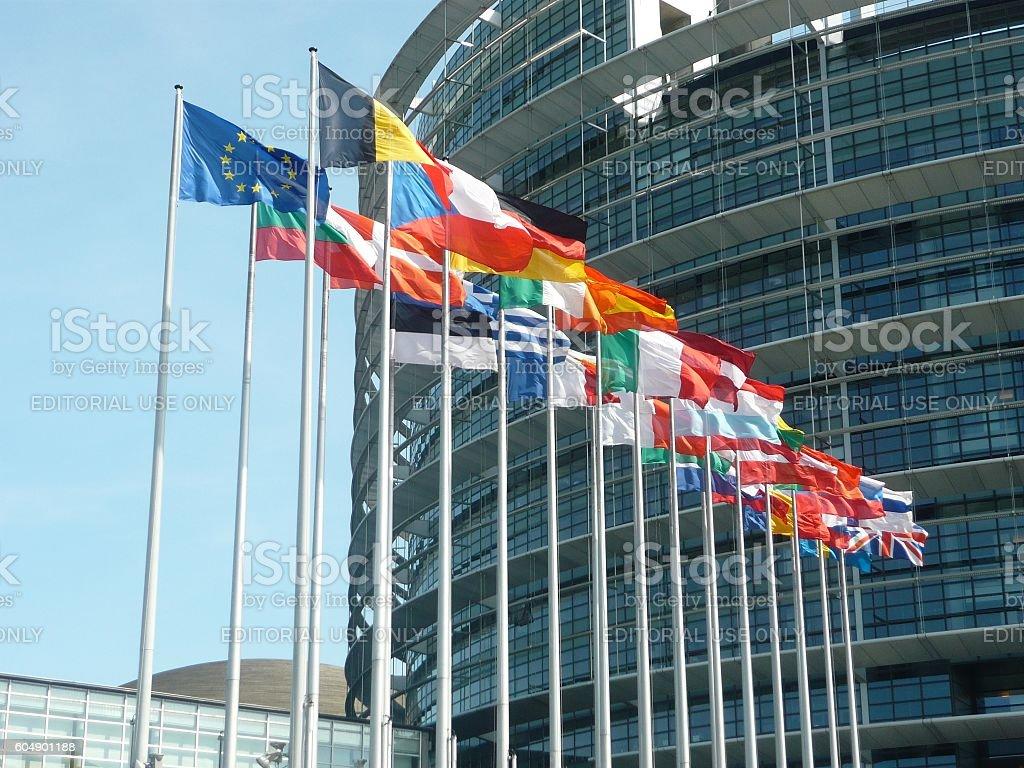 Flags outside the European Parliament stock photo