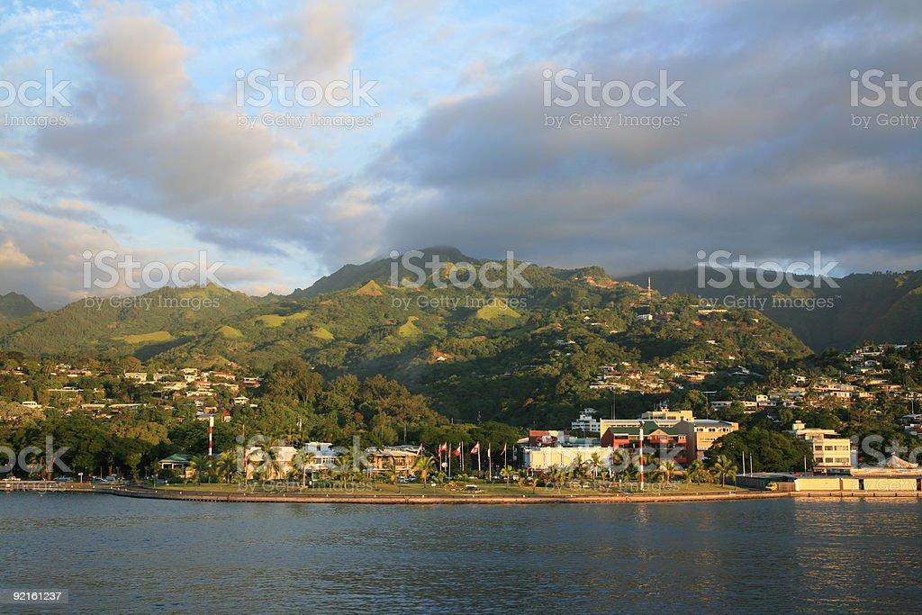 Flags Over Papeete, Tahiti, French Polynesia stock photo