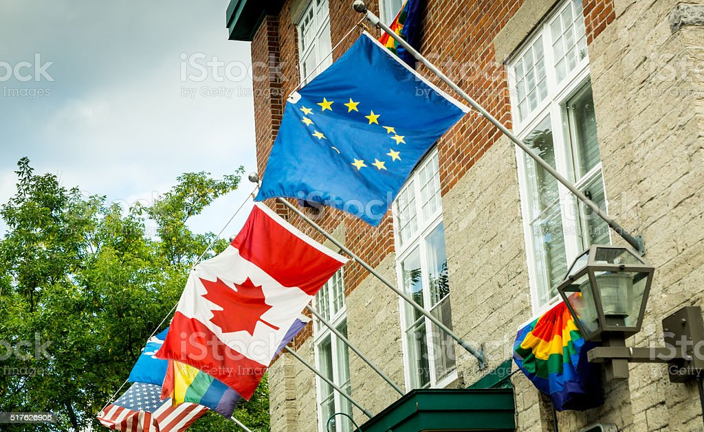 Flags Over Quebec stock photo