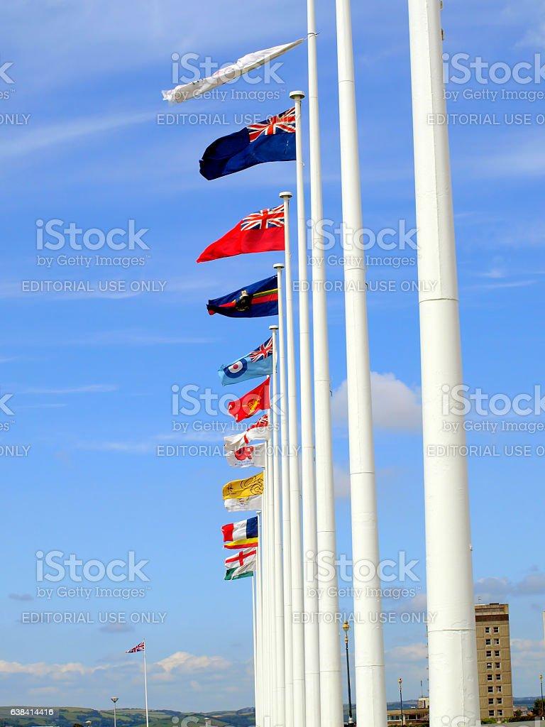Flags, Plymouth, Devon. stock photo