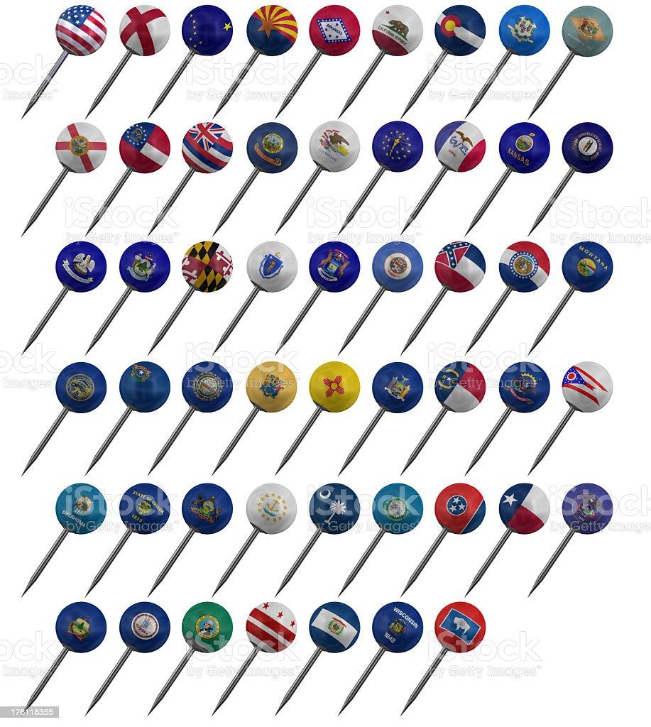 US Flags Push Pins stock photo