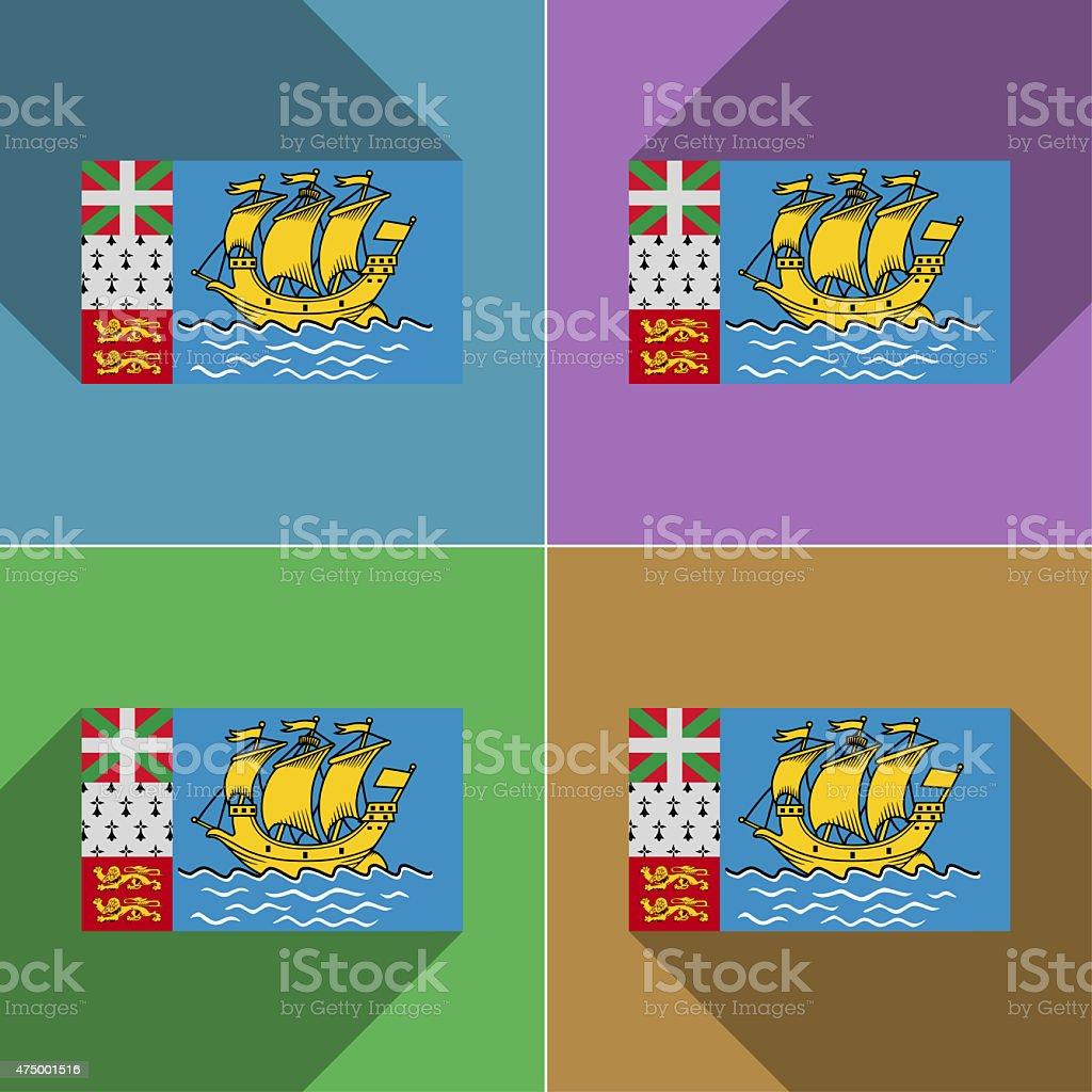 Flags Saint Pierre Miquelon. Set of colors flat design stock photo