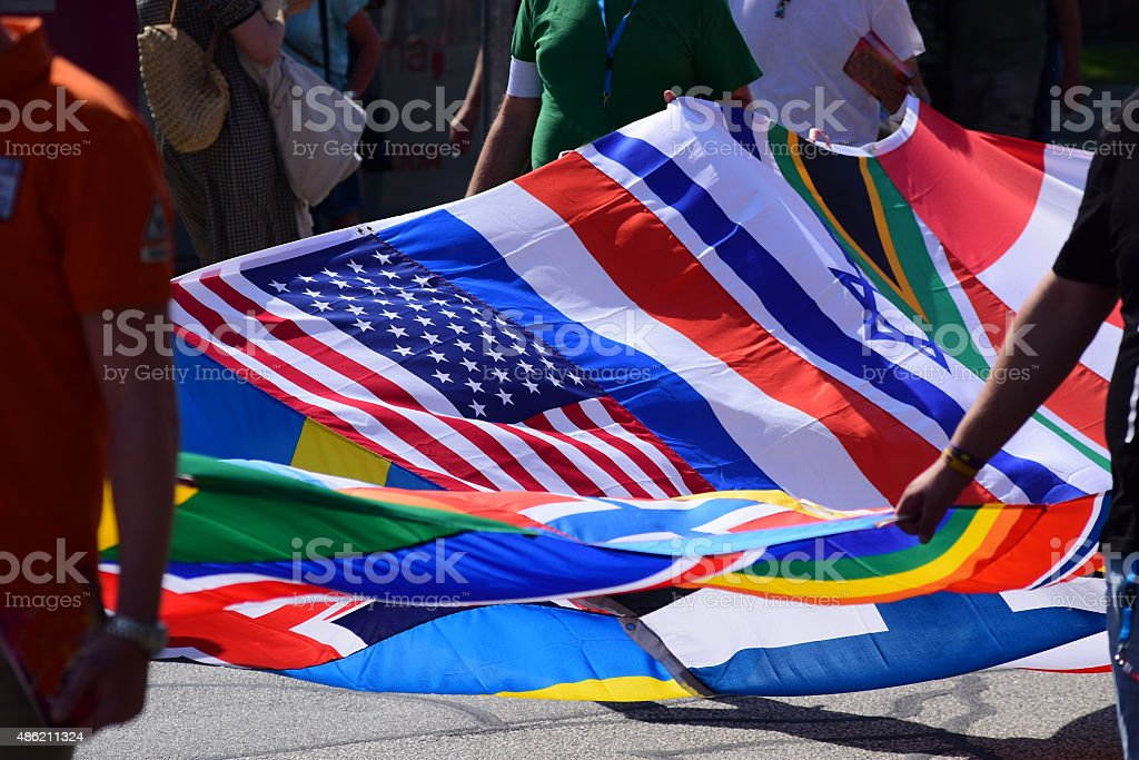 flags sewn together  to form a big flag at CSD stock photo