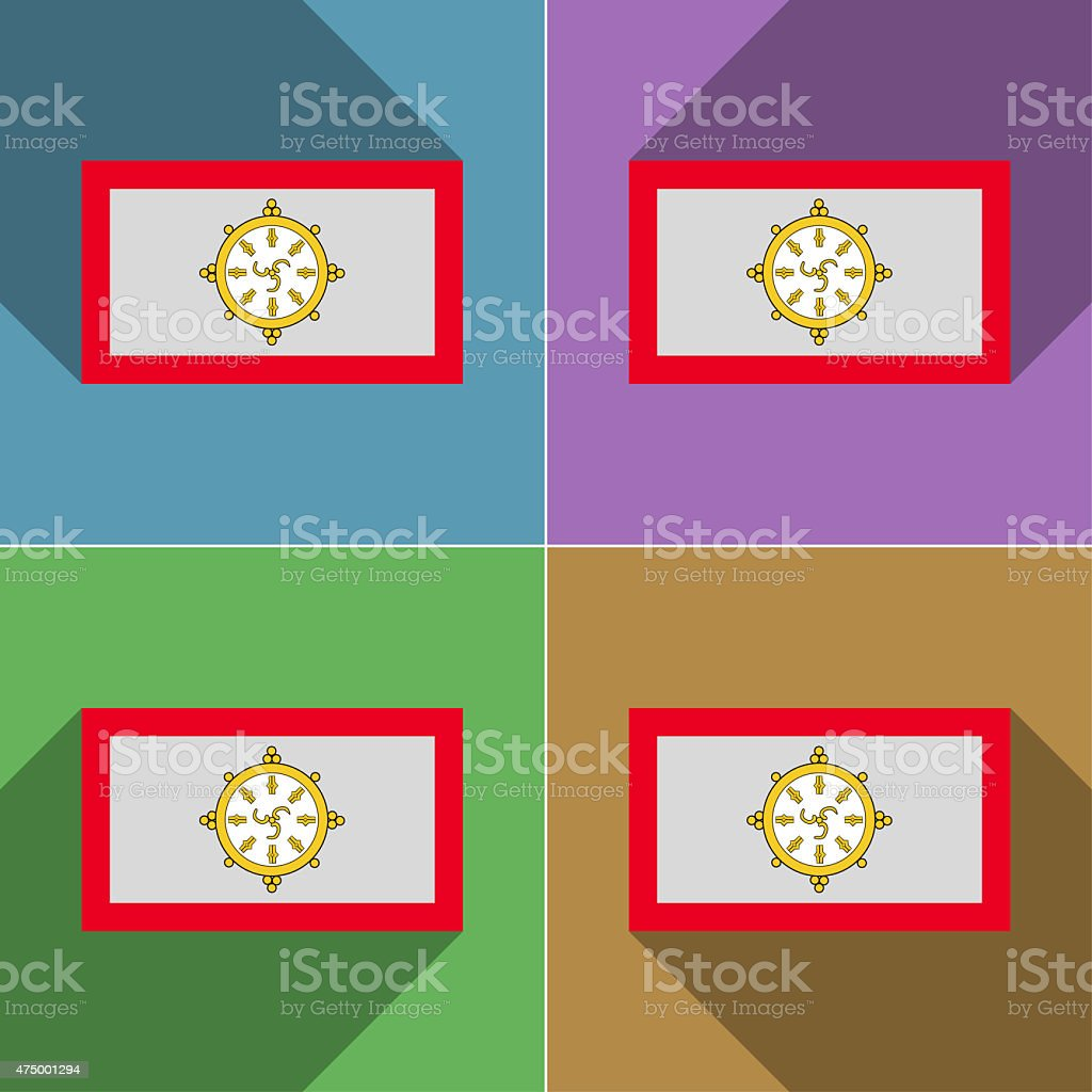 Flags SIKKIM. Set of colors flat design and long shadows. vector art illustration