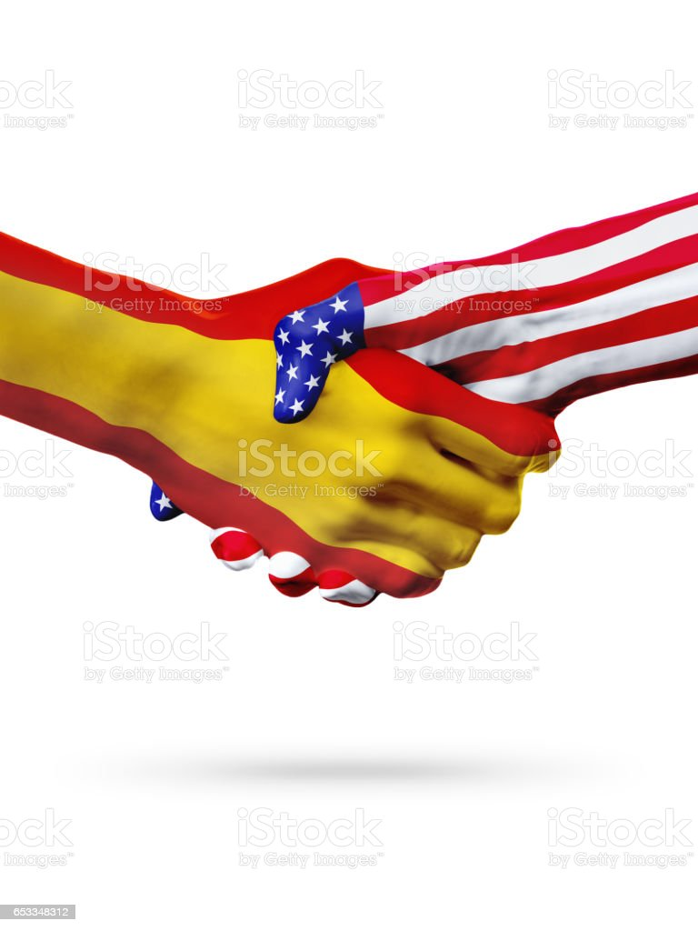 flags spain and united states countries overprinted handshake