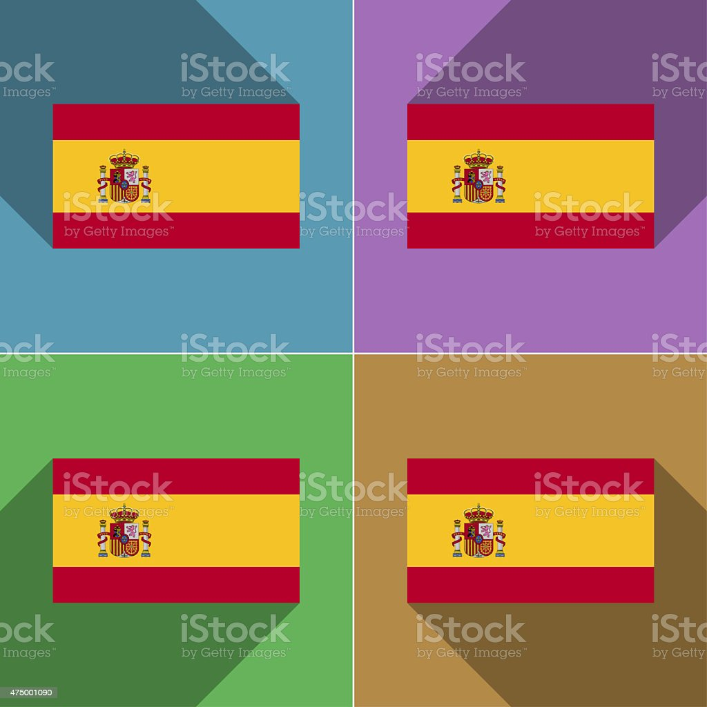 Flags Spain. Set of colors flat design and long shadows. vector art illustration