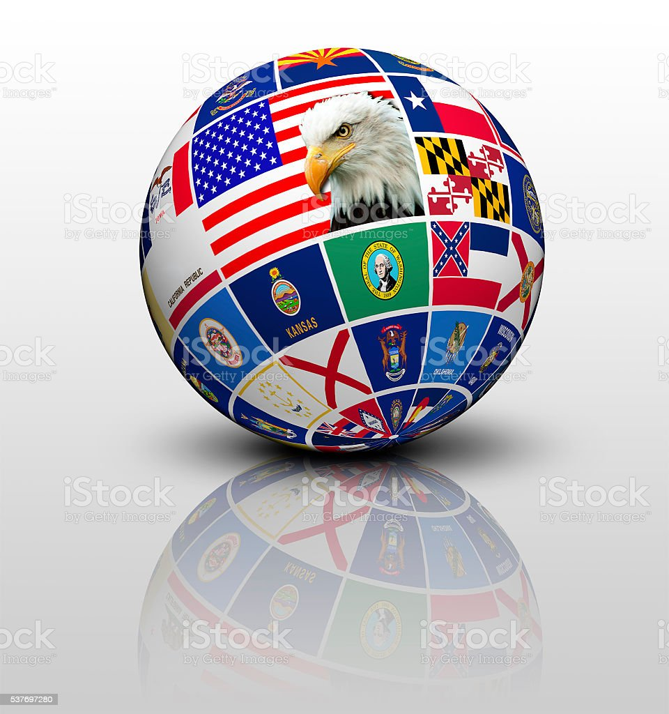 Flags States of America in the form of globe stock photo