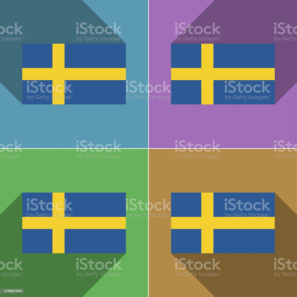 Flags Sweden. Set of colors flat design and long shadows. stock photo