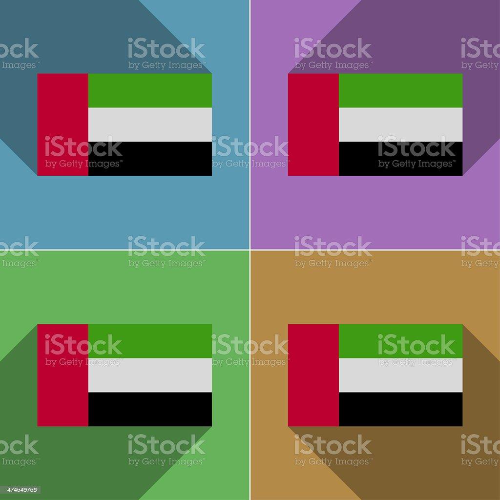Flags United Arab Emirates. Set of colors flat design stock photo