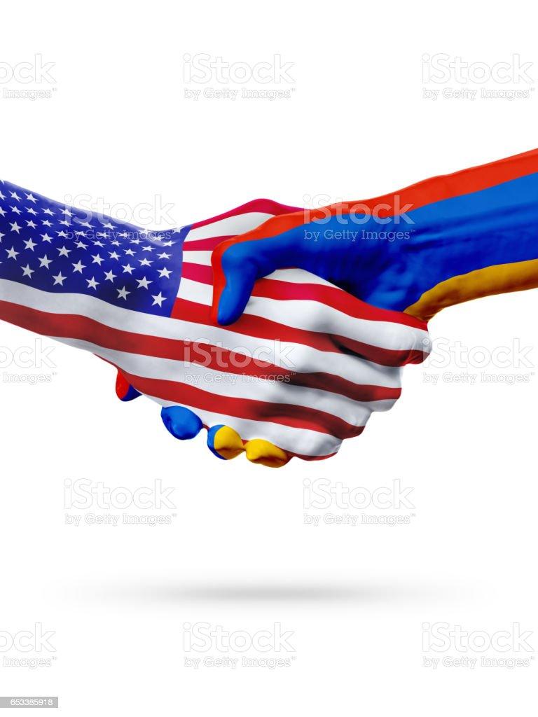 Flags United States and Armenia, countries, partnership handshake. stock photo