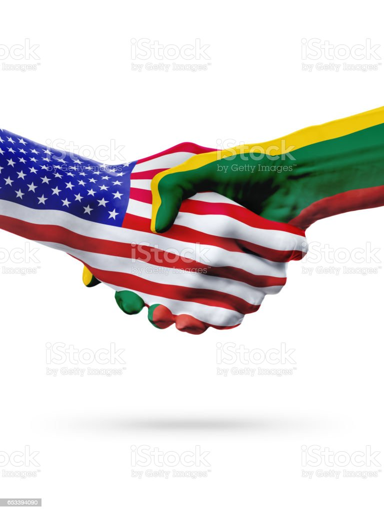 Flags United States and Lithuania countries, partnership handshake. stock photo
