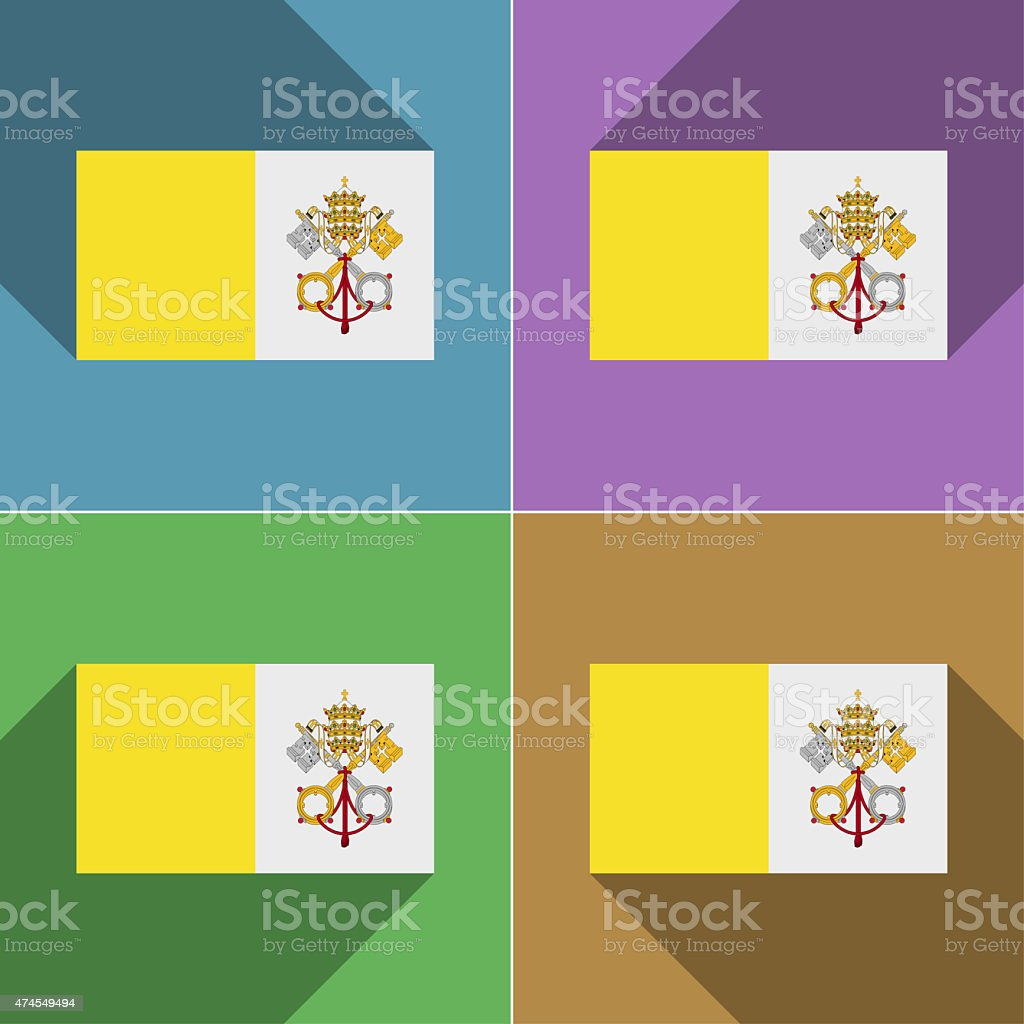 Flags Vatican CityHoly See. Set of colors flat design stock photo