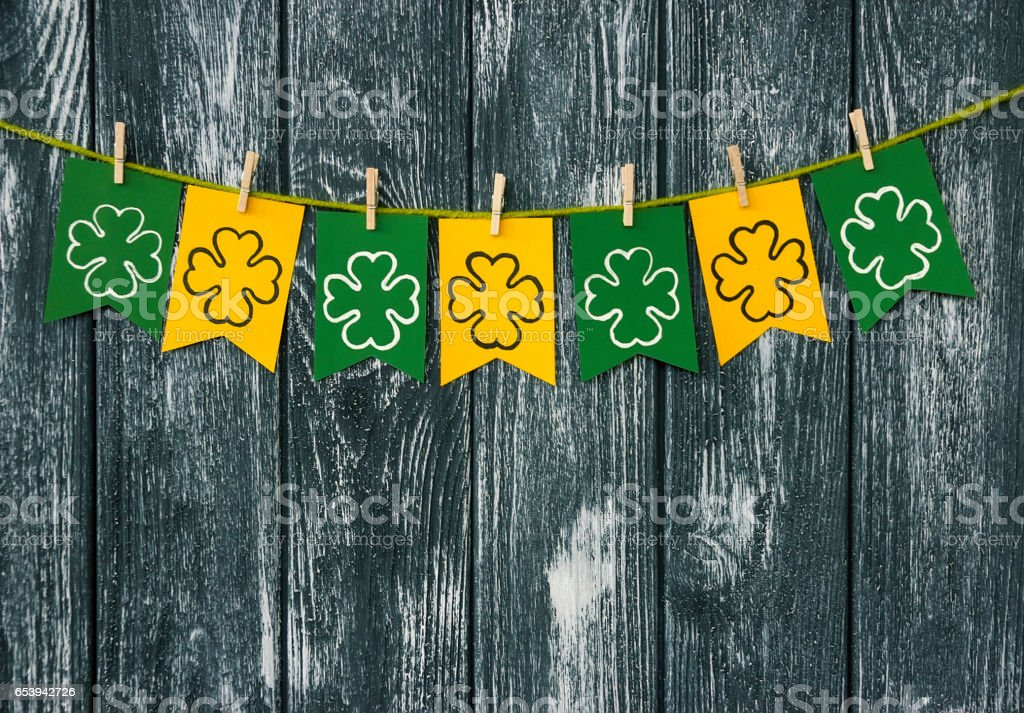 Flags with attributes, shamrocks clover on clothespins stock photo