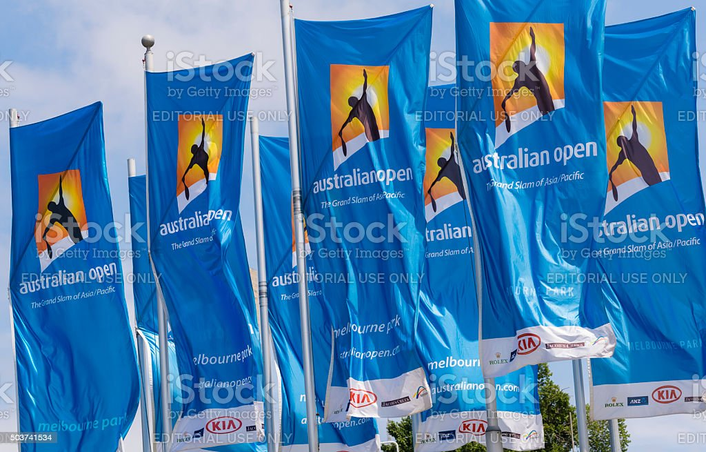 Flags with Australian Open logos stock photo