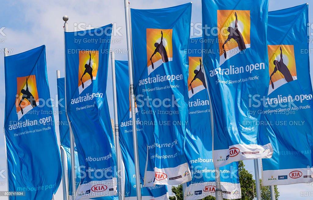 Flags with Australian Open logos stock photo