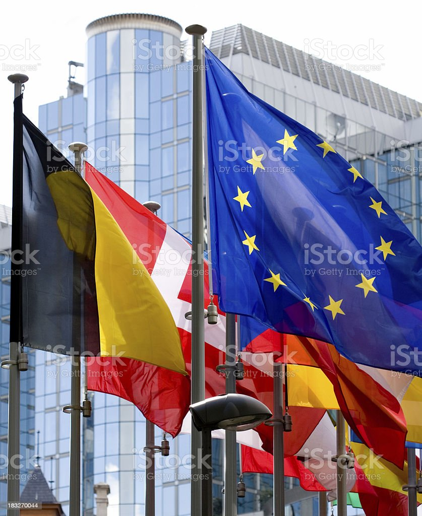 Flags with European Parliament in Brussels royalty-free stock photo