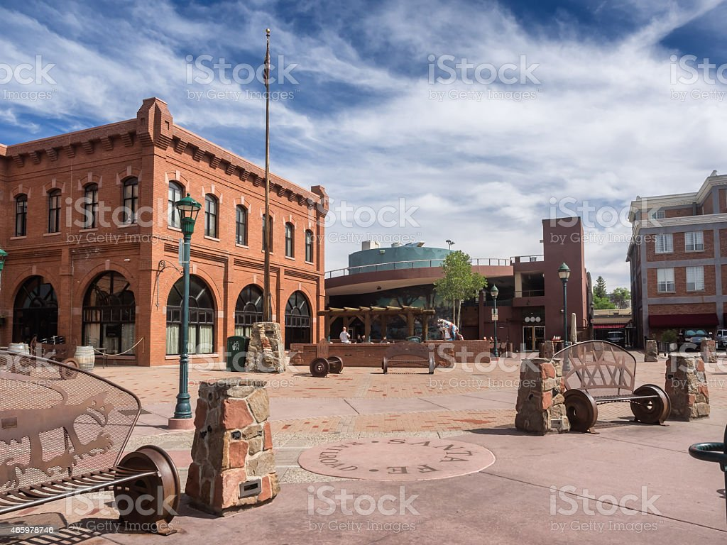 Flagstaff main square with pueblo house stock photo